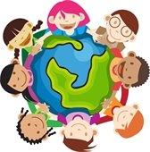 kids holding globe
