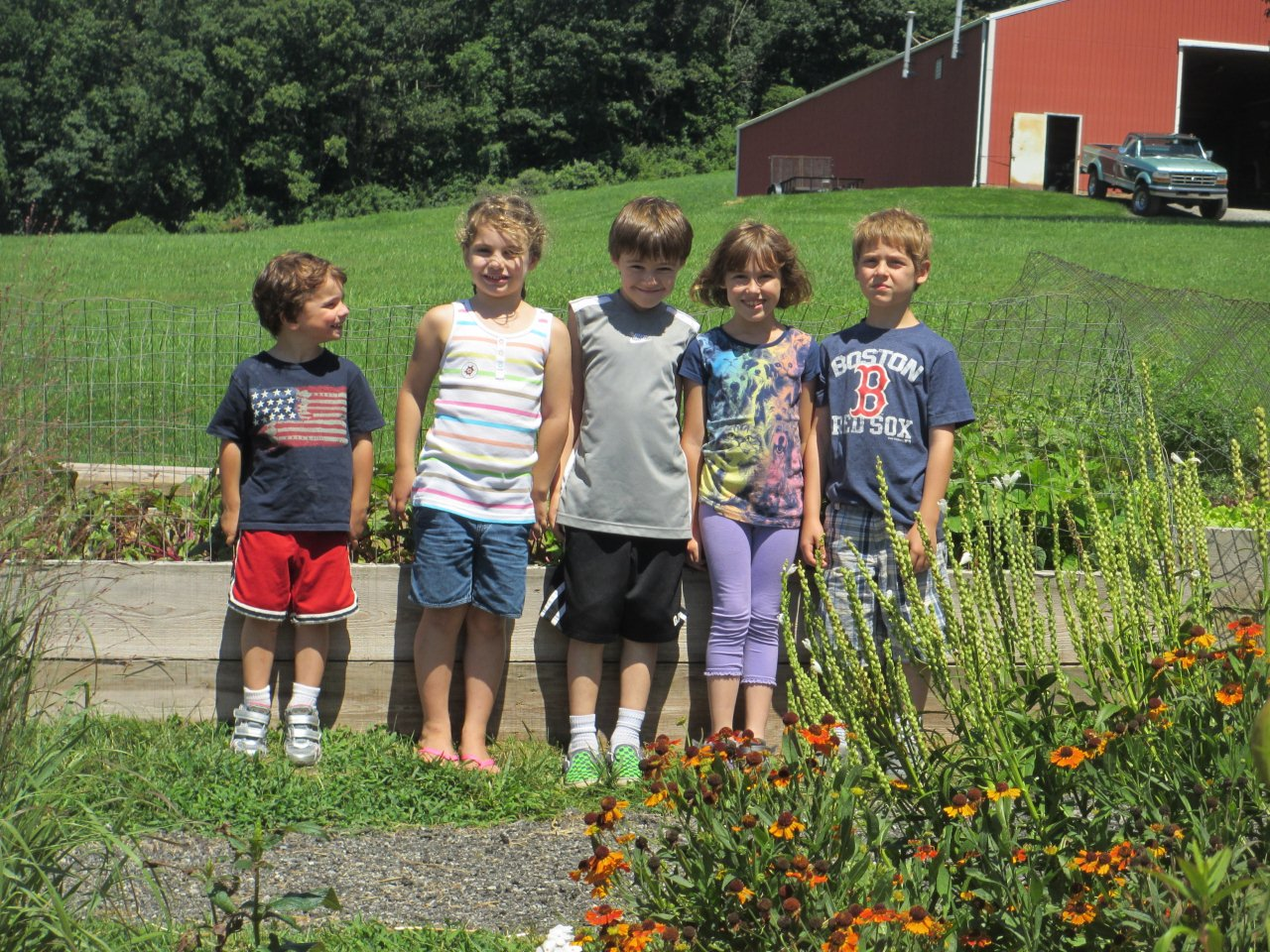 A group of children posing for a photo at Okhehocking Nature Center