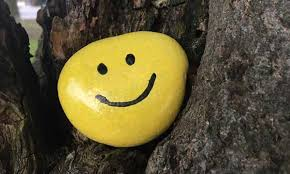 A rock painted yellow with a smiley face on it sitting in a tree
